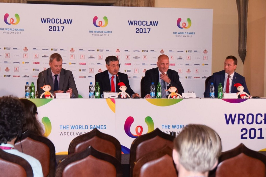José Perurena López, second from left, praised the venues during a press conference ©IWGA