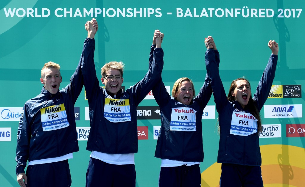 France won the open water swimming mixed relay title ©Getty Images