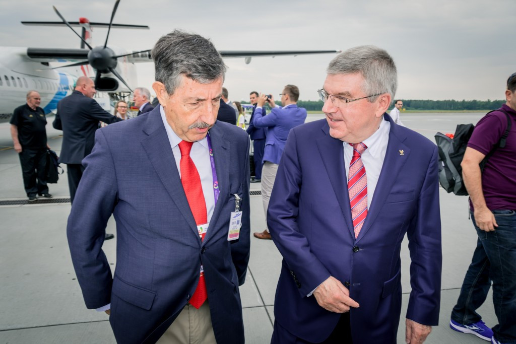 IOC President Thomas Bach arrived in Wrocław this morning for the start of the World Games tonight and was met at the airport by José Perurena, head of the IWGA ©IWGA