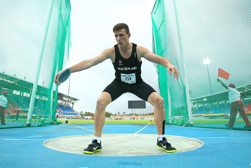 New Zealand's Connor Bell, who is trained by Dame Valerie Adams, won the boys' discus ©Getty Images