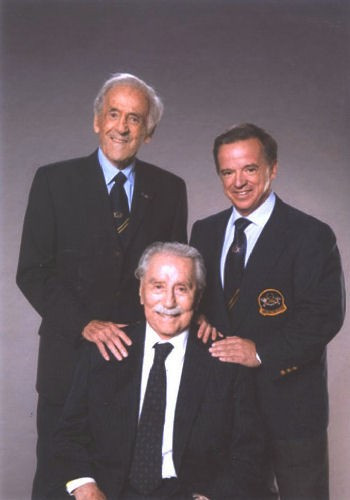 Ben, left, and Joe Weider, centre, founded the IFBB in 1946 and Spain's Dr. Rafael Santonja, right, is now President of the world governing body ©IFBB
