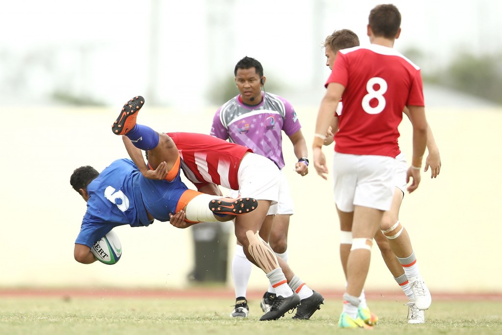 Samoa produced a powerful display to beat England in the boys rugby sevens final ©Getty Images