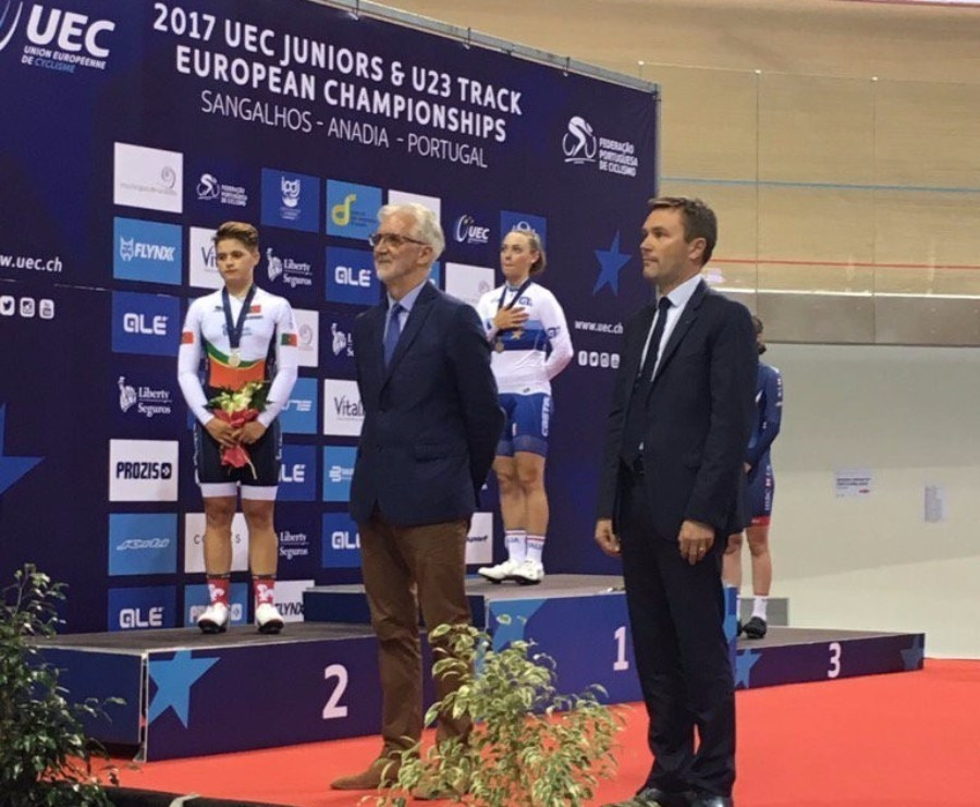 Brian Cookson attended the Championships alongside his challenger for the UCI Presidency David Lappartient ©UEC