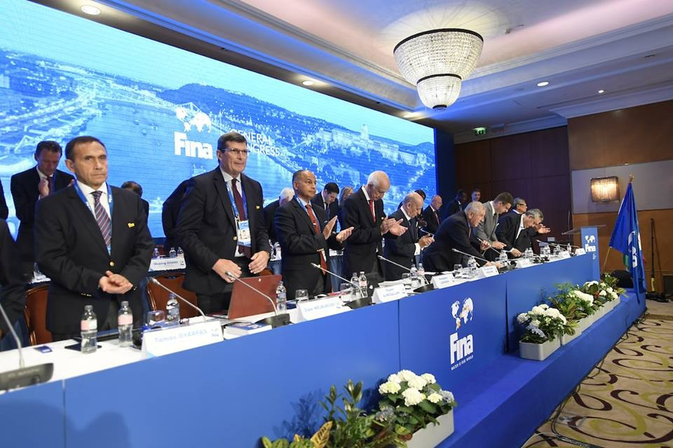 Kuwait's Husain Al-Musallam, third from left, was elected as senior FINA vice-president even after a number of damaging allegations were made about him ©FINA
