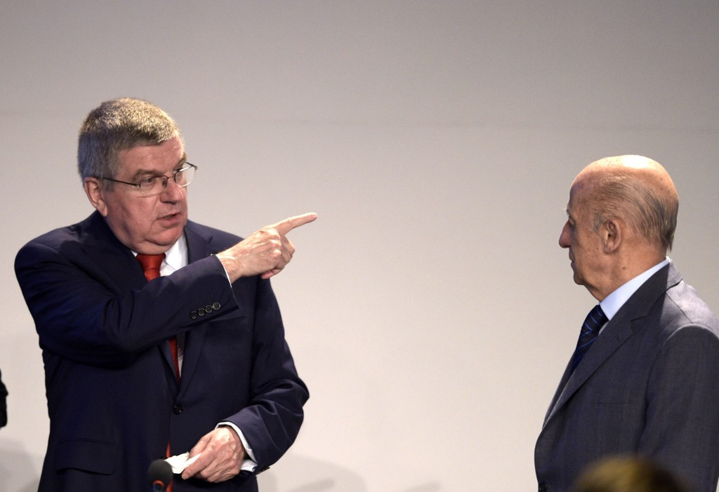 Julio Maglione has a different view of age limits to the IOC, whose President Thomas Bach, left, arrived here this evening ©Getty Images