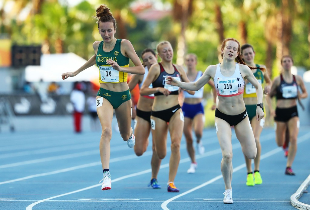 Australia's Carley Jane Thomas won a close-fought girls' 800m race ©Getty Images