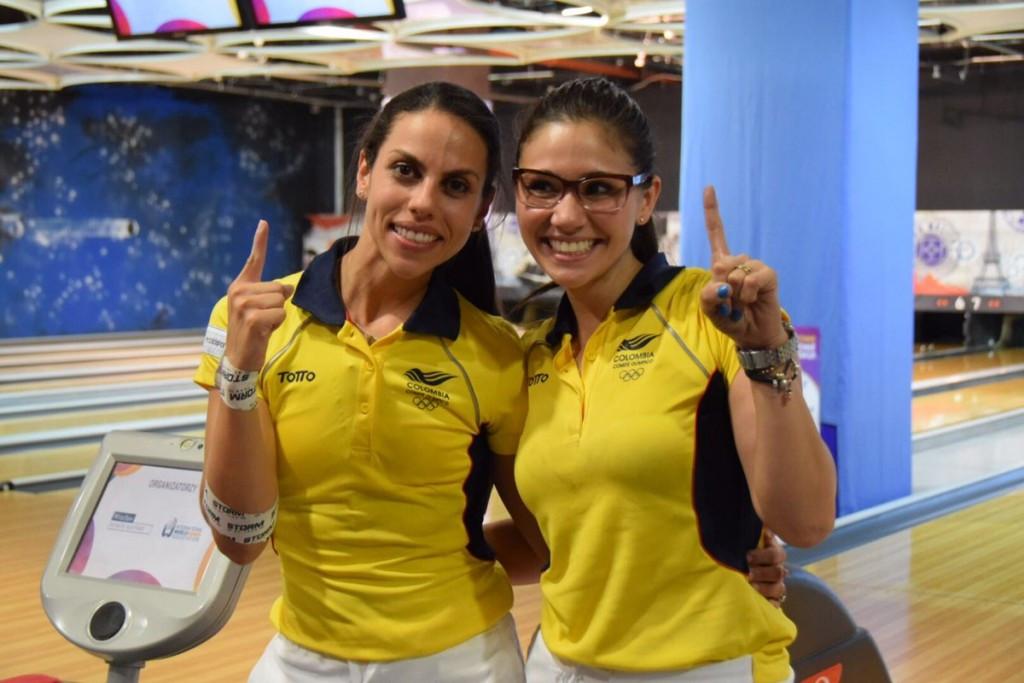 Colombia's Rocio Restrepo and Clara Guerrero won the women's doubles bowling title ©IWGA