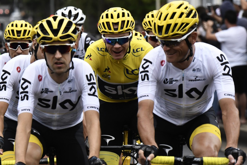 Chris Froome shares a joke with his Team Sky colleagues, who picked up the team title ©Getty Images