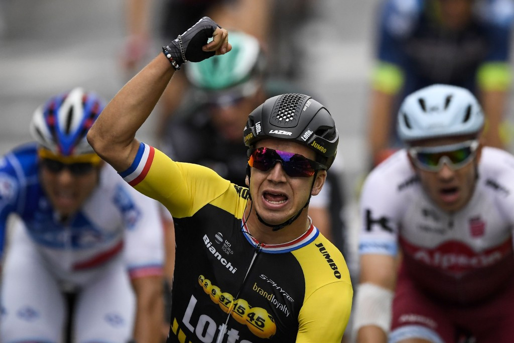 Dylan Groenewegen proved to be the fastest as he out-sprinted his rivals for the stage victory ©Getty Images