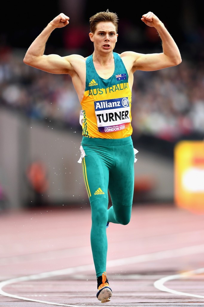 Australia's James Turner completed a hat-trick of gold medals with victory in the men's 800m T36 ©Getty Images