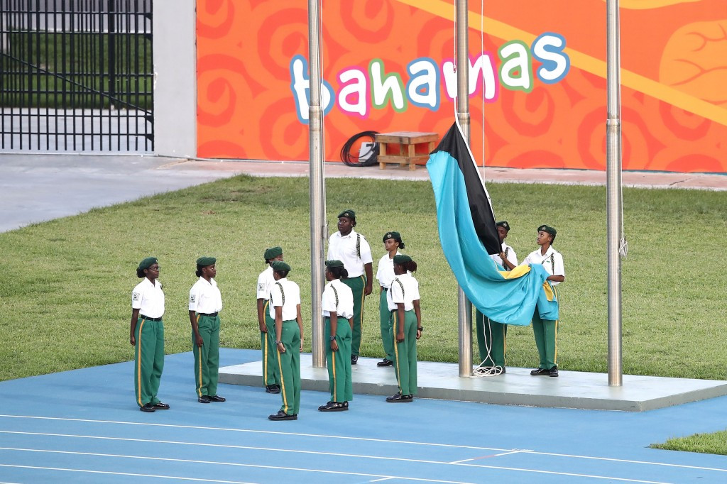 The Bahamas flag was lowered during the Closing Ceremony ©Getty Images
