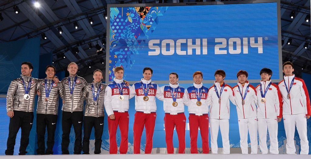 Eddy Alvarez, J.R. Celski, Christopher Creveling and Jordan Malone, left, claimed United States' only short-track medal at Sochi 2014 ©Getty Images