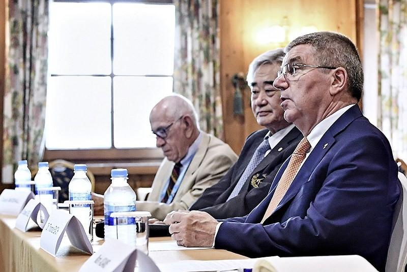 IOC President Thomas Bach spoke during the meeting ©THF