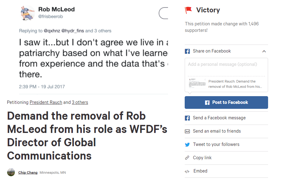 A petition was established following Rob McLeod's posts ©Change.org