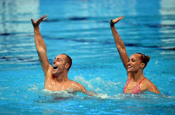 The United States' Bill May and Christina Jones came out on top in the mixed duet synchronised swimming event