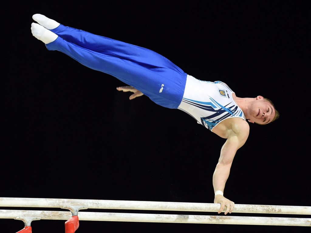 Oleg Verniaiev successfully defended his parallel bars title at the European Gymnastics Championships ©Getty Images