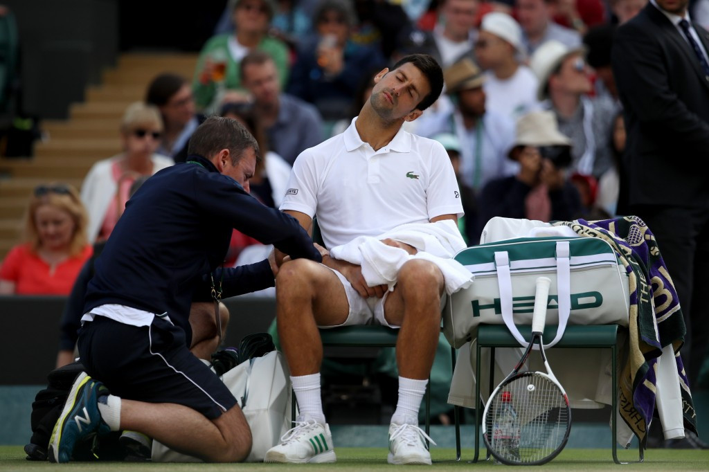 Novak Djokovic retired from his Wimbledon quarter-final due to the injury ©Getty Images