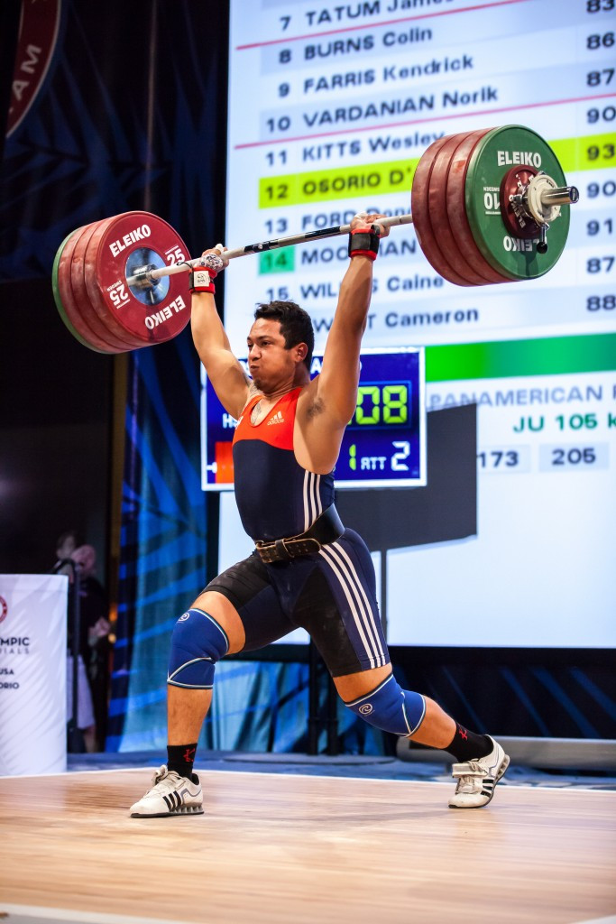 D'Angelo Osorio won a last-gasp clean and jerk title ©USA Weightlifting