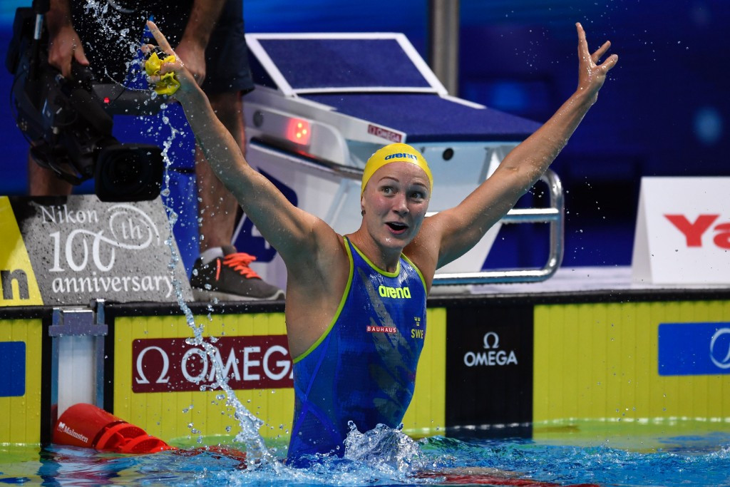 Sweden's Sarah Sjostrom won the women's 50m butterfly gold medal in a Championship record time ©Getty Images