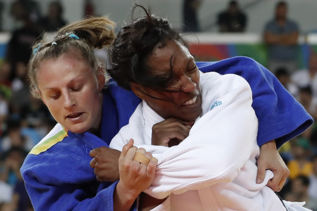 Judoka and two-time sambo world champion Alice Schlesinger, left, participated in an exhibition ©Getty Images
