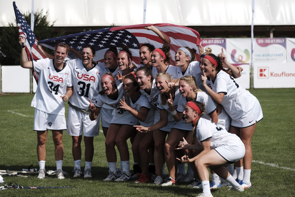 The United States, pictured, beat Canada 11-8 to win lacrosse gold ©IWGA