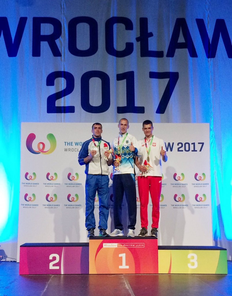 Igor Liubchenko, centre, was one of three Ukrainian muaythai gold medallists today ©The World Games 2017