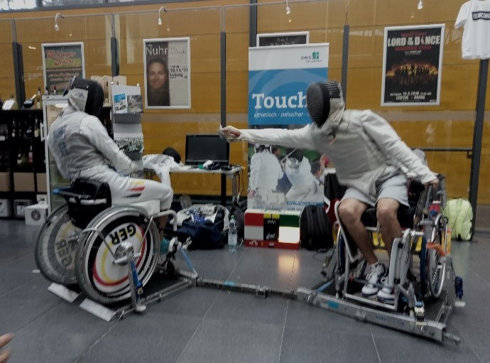 Germany's Maurice Schmidt and Julius Haupt took part in bouts at the stand ©IWAS