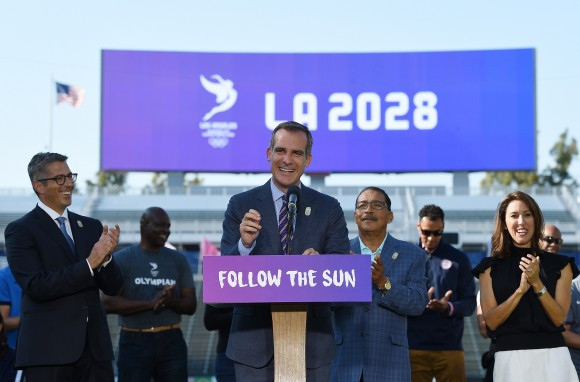 "Eric Garcetti claimed a deal for Los Angeles to host the 2024 Olympics, rather than 2024, ""too good to pass up"" ©Facebook"