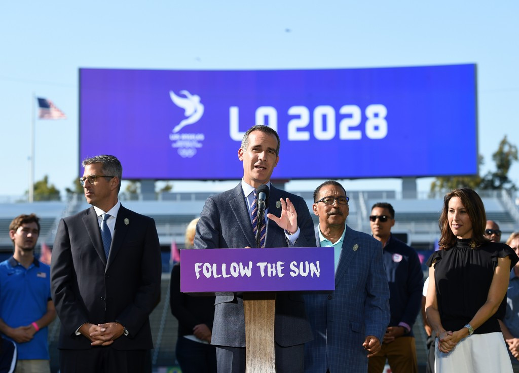 Los Angeles Mayor Eric Garcetti announced a deal for his city to host the 2028 Olympic and Paralympic Games ©Getty Images