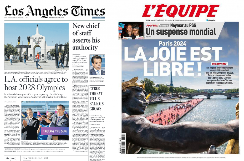 The announcement that Los Angeles would host the 2028 Olympics, leaving Paris to stage 2024, created front page headlines in the United States and France ©ITG