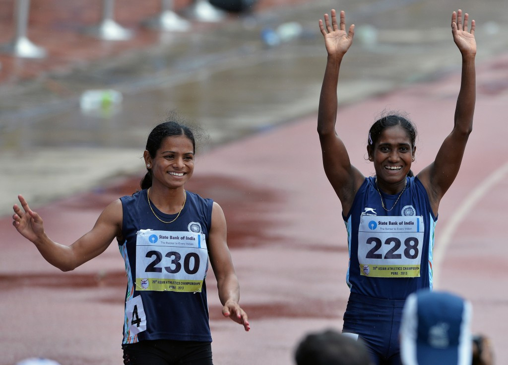 India's Dutee Chand, pictured left after winning 200m bronze at the Asian Athletics Championships, has been cleared to run after challenging the IAAF's rules on hyperandrogenism at the Court of Arbitration for Sport  ©Getty Images