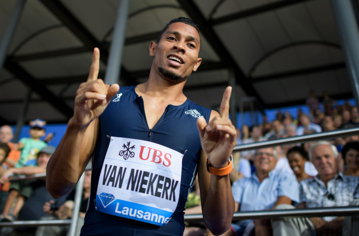 Wayde Van Niekerk, pictured after winning the 400m in 43.62 at the IAAF Diamond League meeting in Lausanne, is ready to fill the void that will be created by Usain Bolt's retirement ©Getty Images