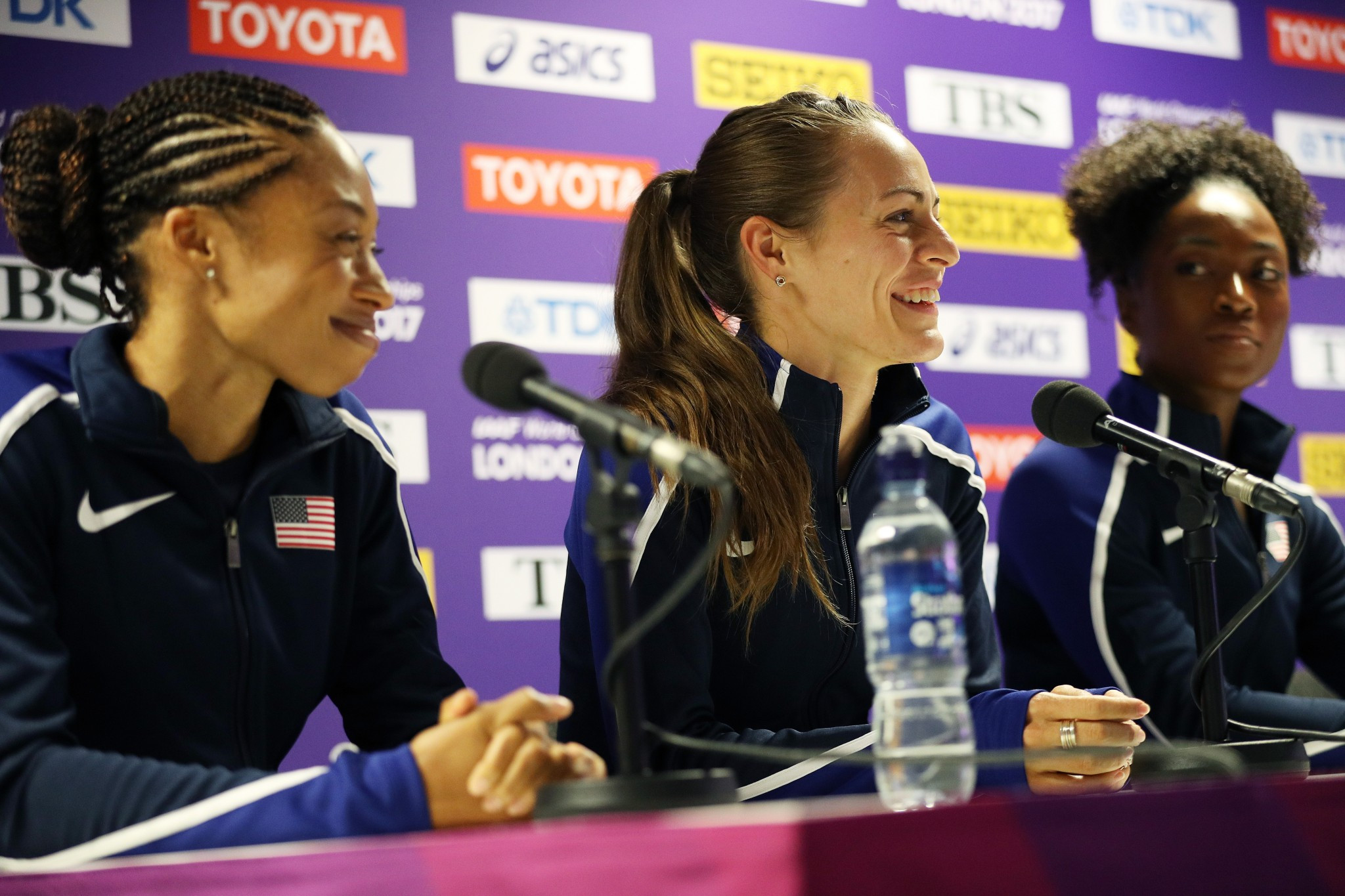 Jenny Simpson, centre, believes 10 years is too long for athletes to wait to receive reallocated medals ©Getty Images