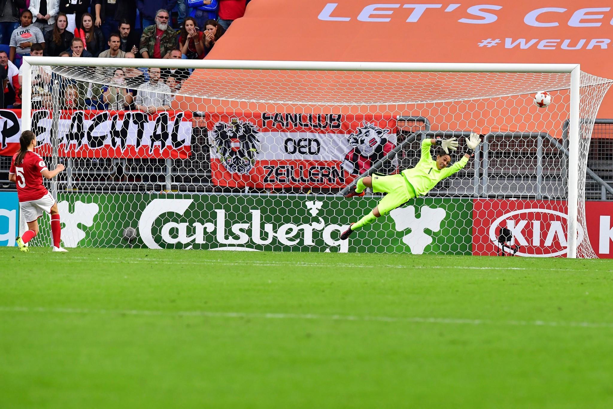 Simone Boye Sørensen scored the winning penalty as Denmark beat Austria in the first semi-final ©Getty Images