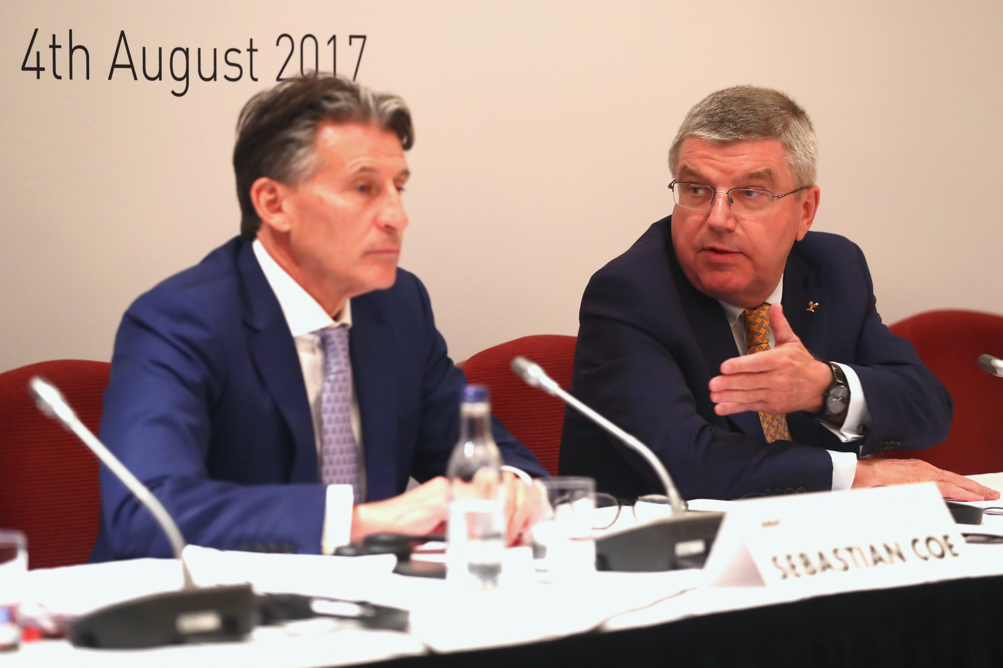 Sebastian Coe, left, and Thomas Bach claim to have discussed the issue of IOC membership ©Getty Images