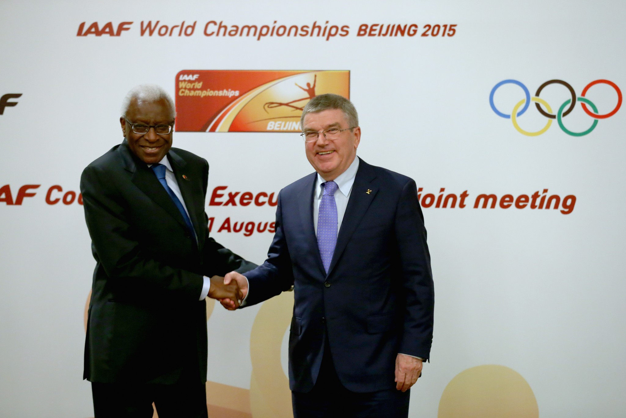 Sebastian Coe's predecessor Lamine Diack, left, became an IOC member soon after his election ©Getty Images