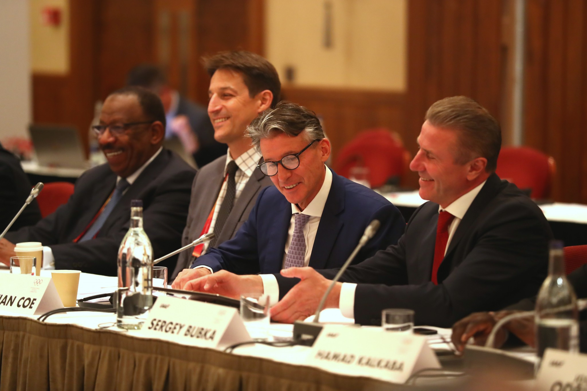 Sebastian Coe, second right, claims to be prioritising ongoing reforms within the IAAF ©Getty Images