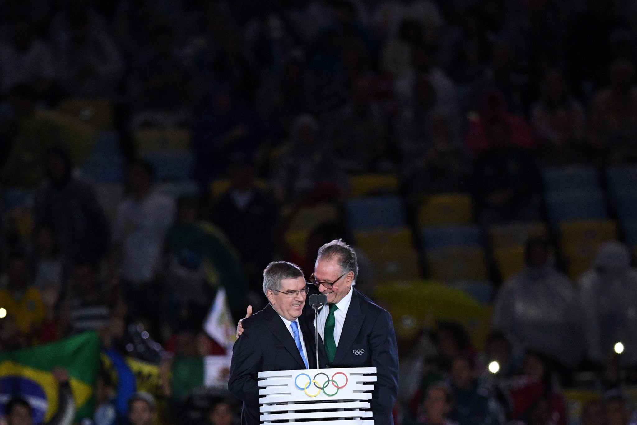 Thomas Bach, left, pictured with Rio 2016 chief Carlos Nuzman, has defended the Olympic legacy ©Getty Images