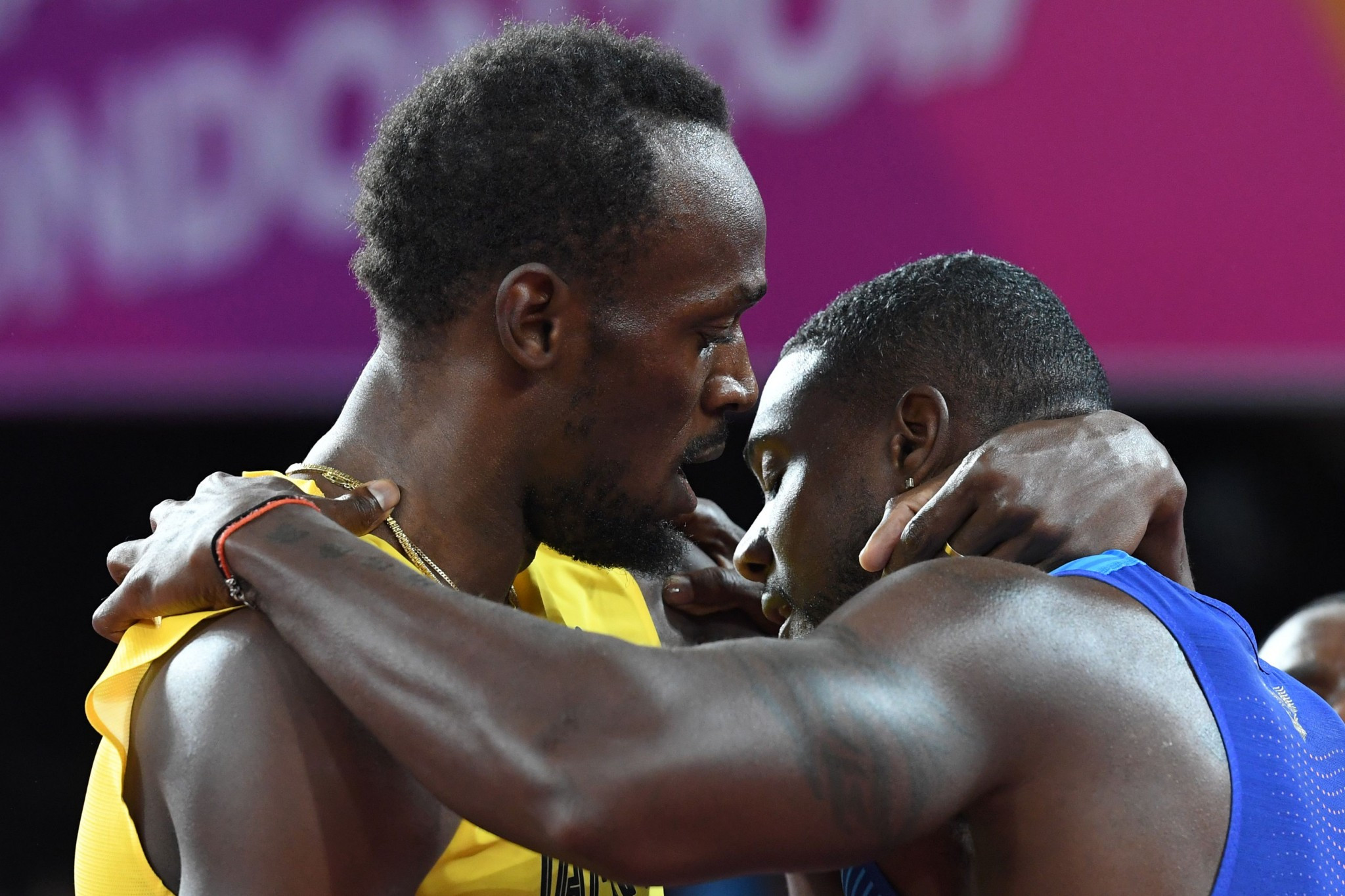 Justin Gatlin, right, stunned Usain Bolt today ©Getty Images