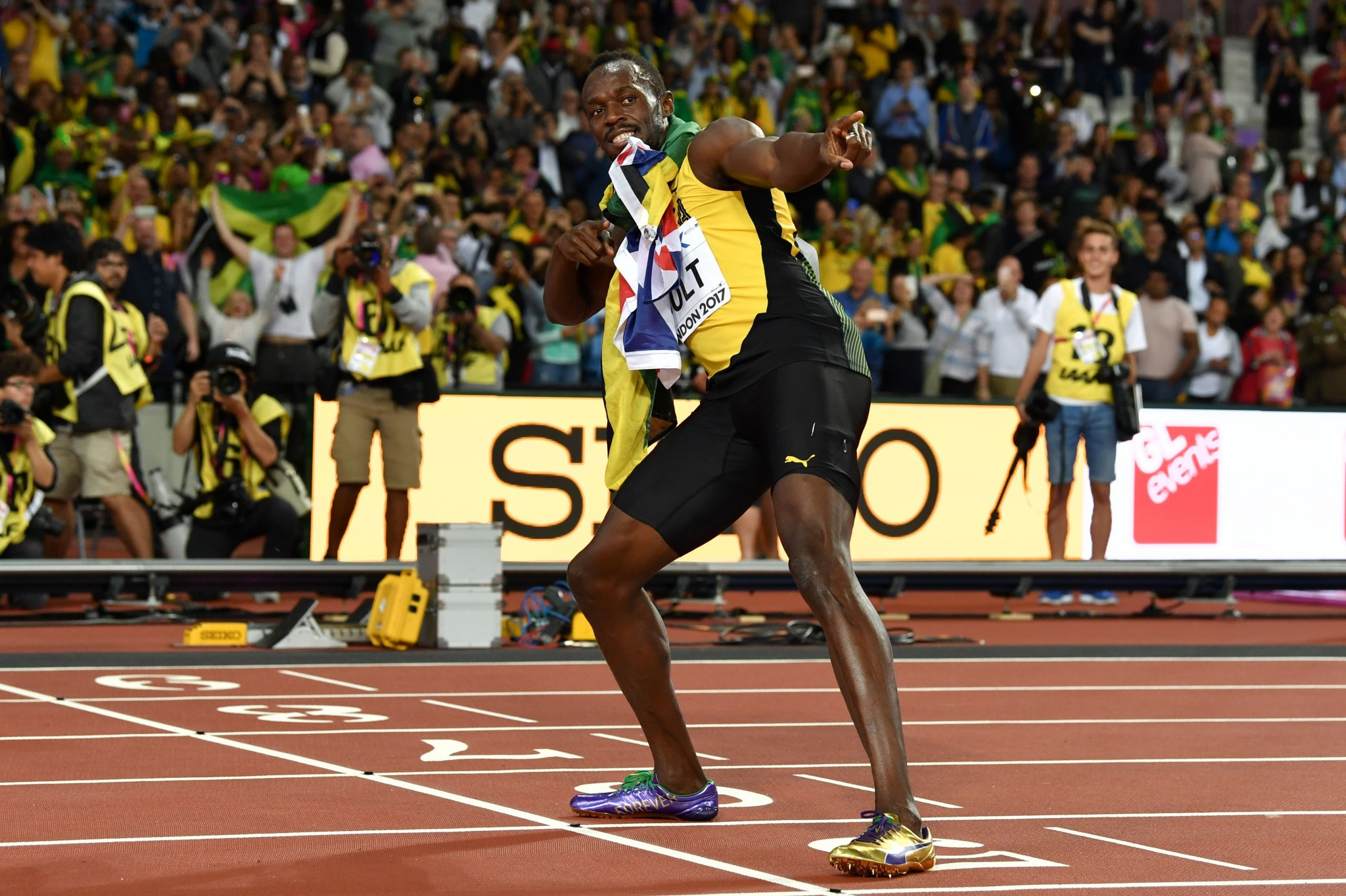 It was Usain Bolt who was still commanding all the attention after his third place finish ©Getty Images
