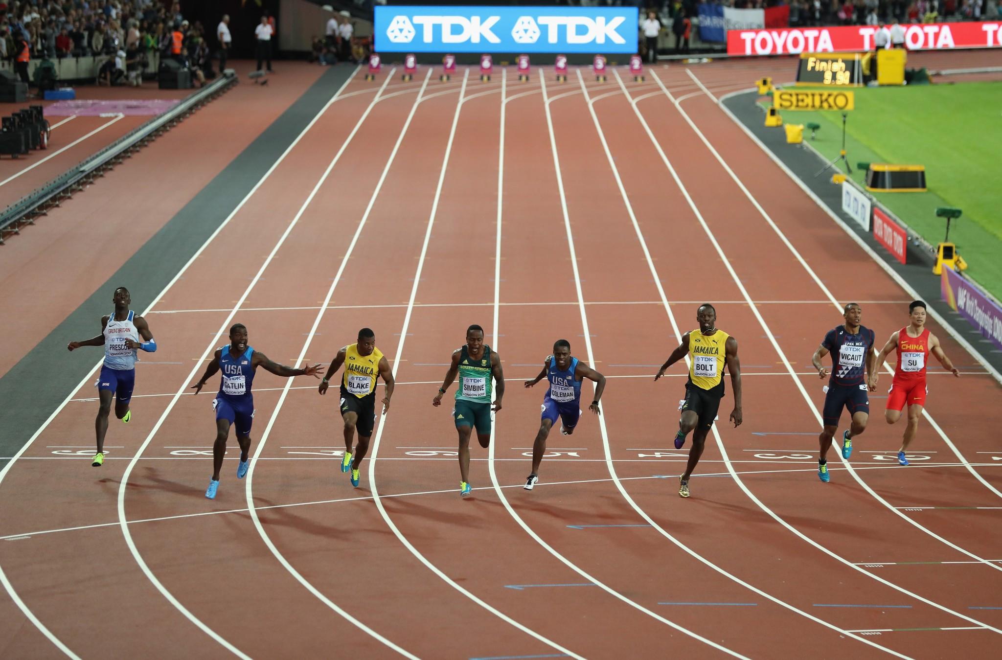 Gatlin shocks Bolt on day of drama at IAAF World Championships
