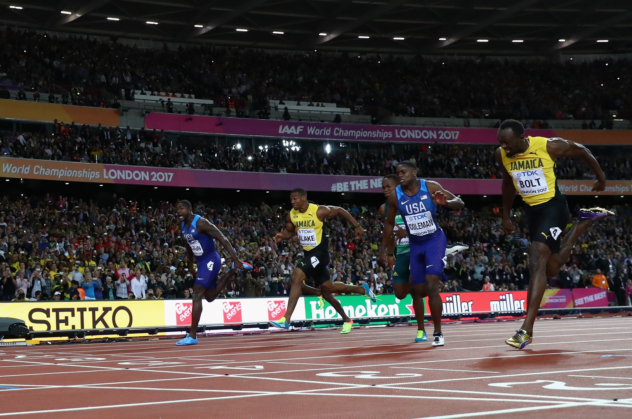 Jamaica's Prime Minister Andrew Holness has called for lifetime bans after Usain Bolt was beaten in the 100m by Justin Gatlin, far left, at the IAAF World Championships ©Getty Images