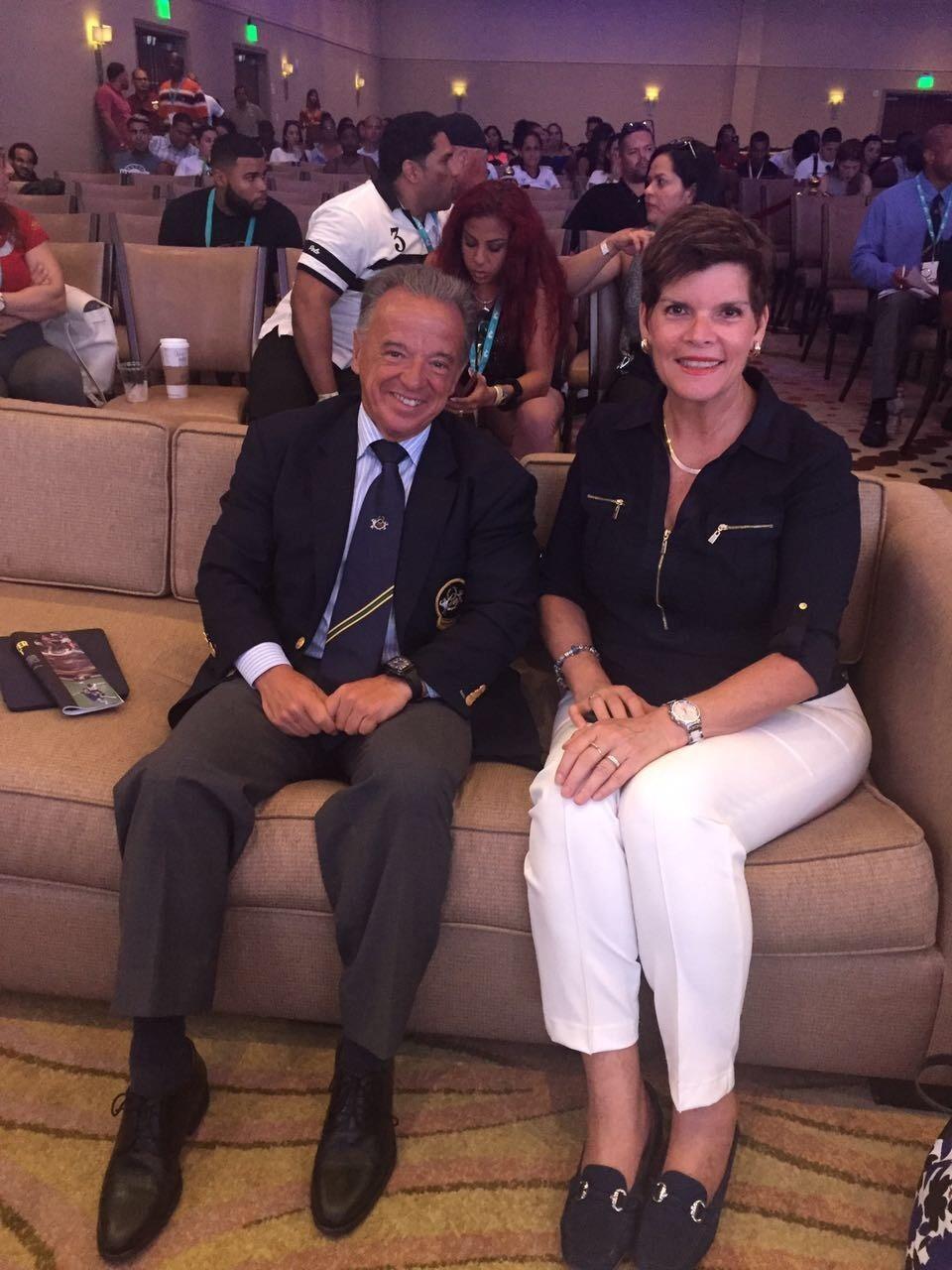 IFBB President Dr. Rafael Santonja met with IOC member Nicole Hoevertsz ©IFBB