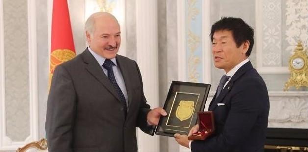 FIG President Morinari Watanabe, pictured, has held talks with the President of Belarus, Alexander Lukashenko ©Belarus Gymnastics Federation