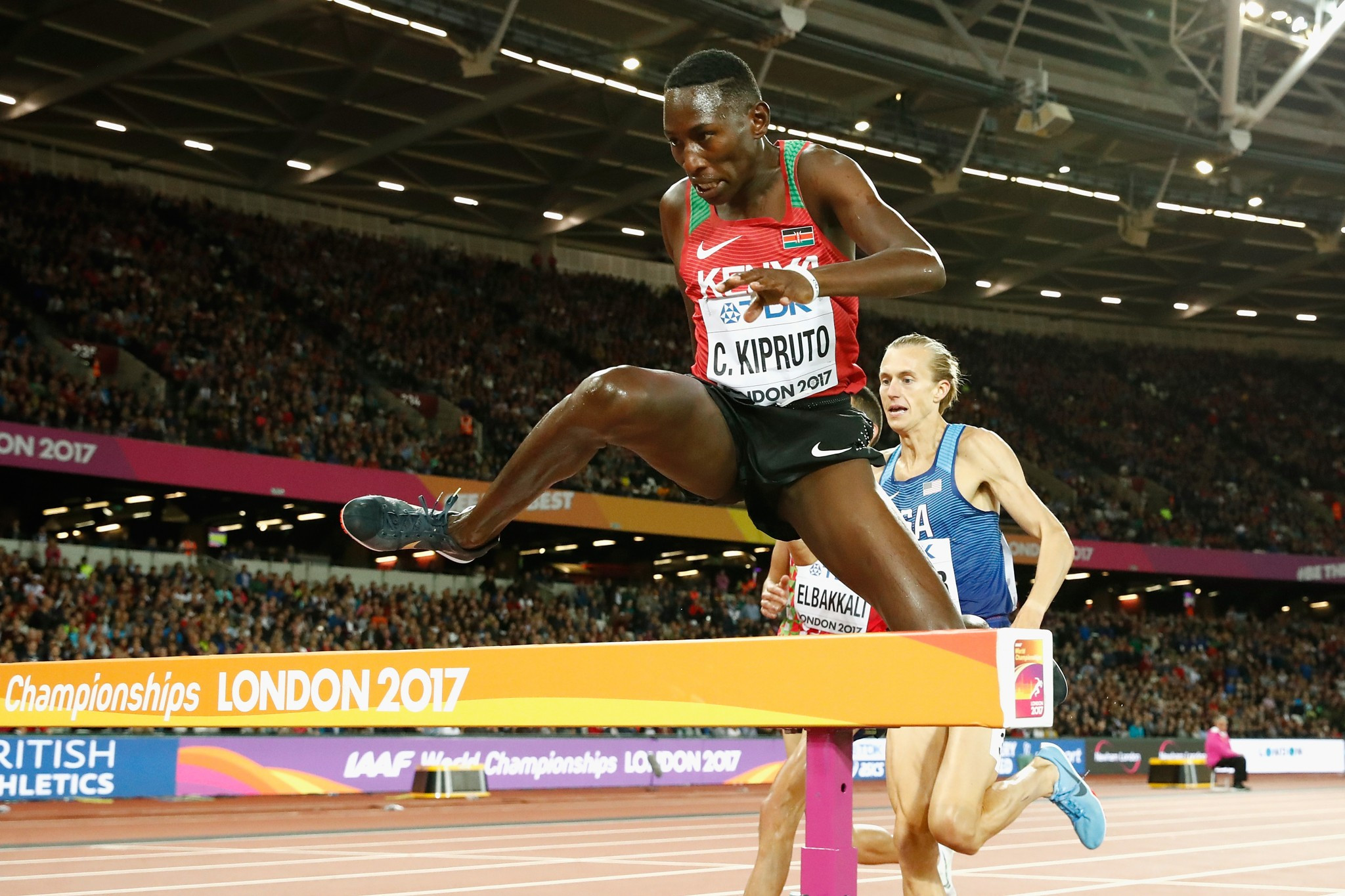Kenya's Conseslus Kipruto added the world 3,000m steeplechase crown to his Olympic title ©Getty Images