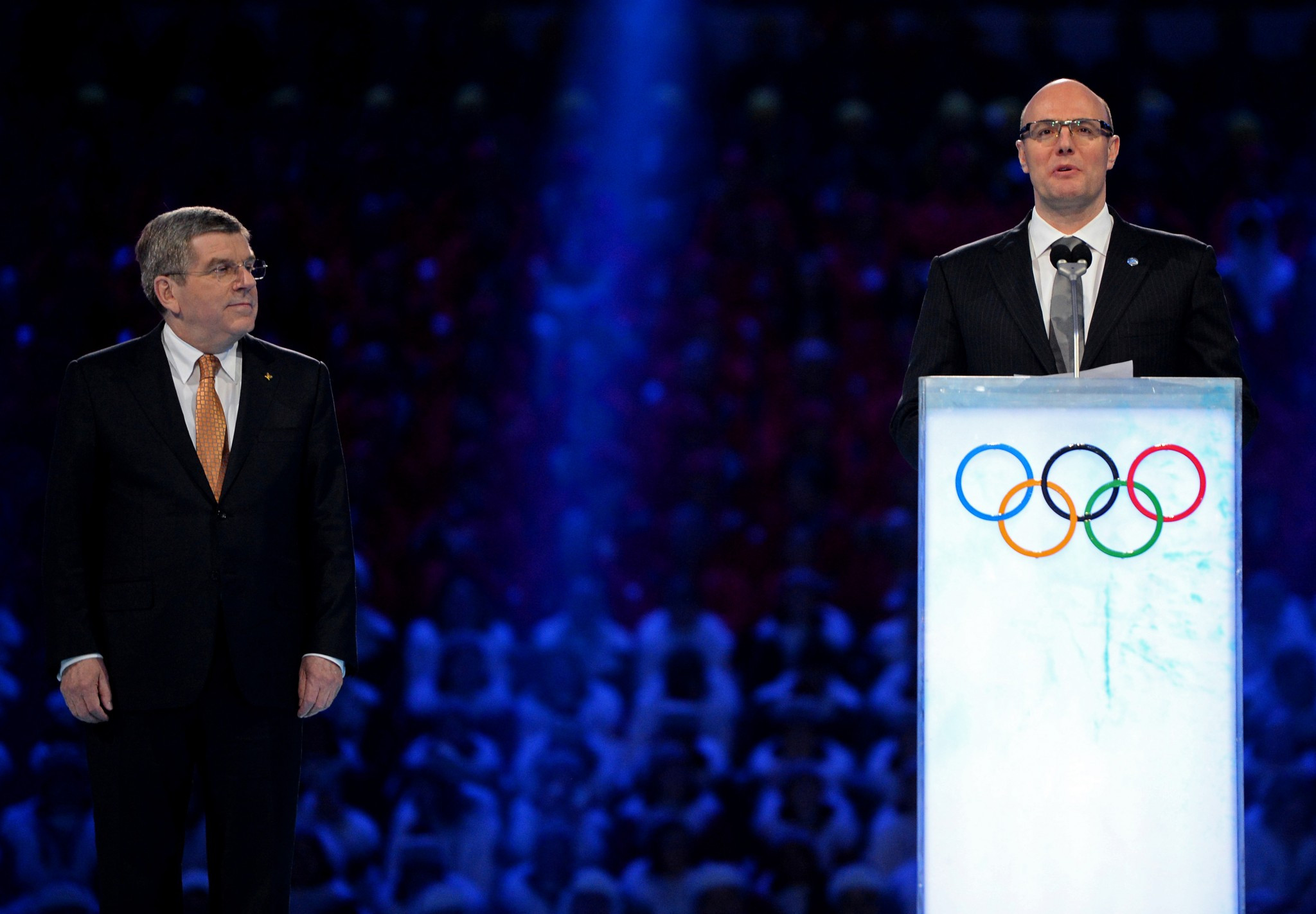IOC President Thomas Bach, left, pictured at the Opening Ceremony of Sochi 2014 ©Getty Images