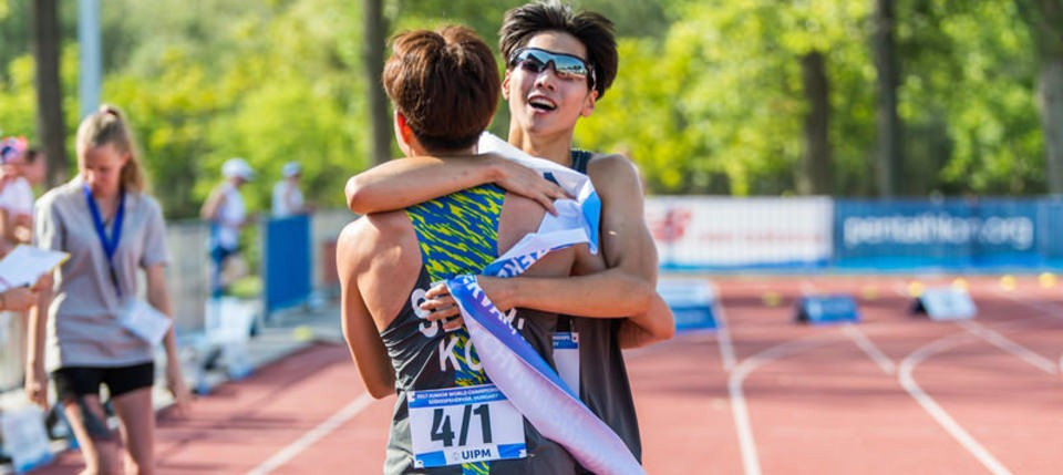 South Korea's Changwan Seo and Hyunseok So won the men's relay title as action continued today at the UIPM Junior World Championships in Hungarian city Székesfehérvár ©UIPM