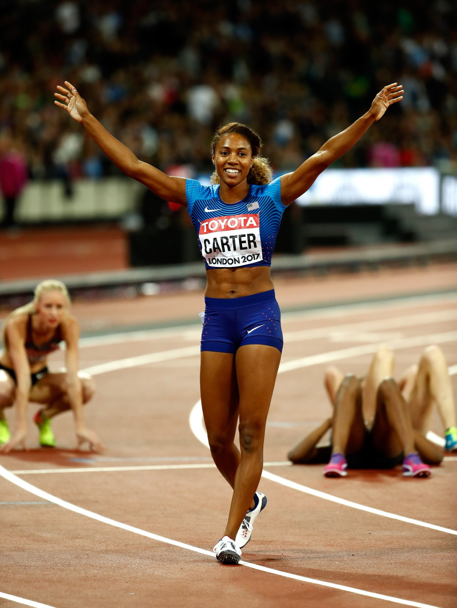 America's Kori Carter was the surprise winner of the 400 metres hurdles in a field which included the Olympic champion, her team-mate Dalilah Muhammad ©Getty Images