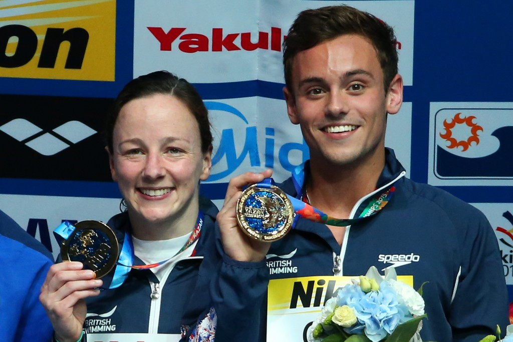 Rebecca Gallantree (left) and Tom Daley (right) won the inaugural mixed team diving world title ©Getty Images