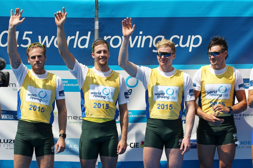 The World Rowing Championship hopes of Australia's men's four - pictured after their World Cup win this month -  have been affected by a bike crash involving three crew members  ©Getty Images
